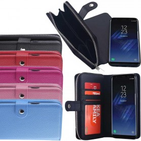 Mobilväska 2 i 1 magnetisk Samsung Galaxy S8 Plus SM-G955F mobilskal myntfack dragkedja
