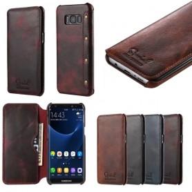 Mobilplånbok Slim äkta läder Samsung Galaxy S8 Plus SM-G955F äkta läder fodral mobilskal