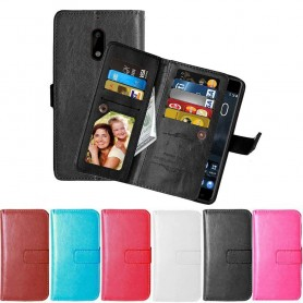 Dubbelflip Flexi 9kort Nokia 6 mobilplånbok fodral väska skydd