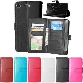Dubbelflip Flexi 9kort Sony Xperia XZ1 Compact mobilplånbok fodral väska mobilskal