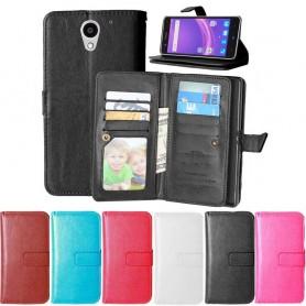 Dubbelflip Flexi 9kort ZTE Blade A510 mobilplånbok fodral väska mobilskal