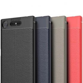 Sony Xperia XZ1 Läder mönstrat silikon TPU skal mobilskal skydd baksida fodral