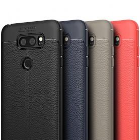 LG V30 Läder mönstrat silikon TPU mobilskal slydd fodral