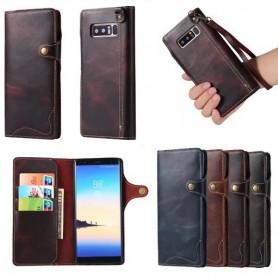 Mobilplånbok 3-kort äkta läder Samsung Galaxy Note 8 fodral väska mobilskal