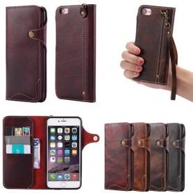 Mobilplånbok 3-kort äkta läder Apple iPhone 6 / 6S lyxig