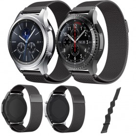 Milanese stål armband svart Samsung Gear S3 Frontier - S3 Classic