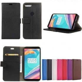 Mobilplånbok 2-kort, sedelfack OnePlus 5T vaska fodral lycheeläder