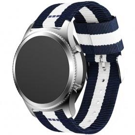 Blå-Vitt Nylon Armband Samsung Gear S3 Frontier - Classic FC3
