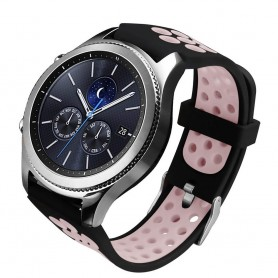 Sport Armband Hole Samsung Gear S3 Svart-Rosa klockarmband