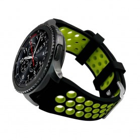 Sport Armband Hole Samsung Gear S3 Svart-Grön klockarmband tillbehör
