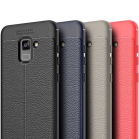 Läder mönstrat TPU skal Samsung Galaxy A8 Plus 2018 mobilskal skydd CaseOnline