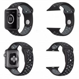 Apple Watch 38mm Sport Armband Silikon Svart-Grå Series 1 2 och nike+ CaseOnline.se