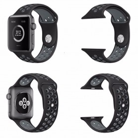 Apple Watch 38mm Sport Armband Silikon Svart-Grå Series 1 2 och nike+ CaseOnline.se
