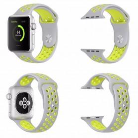 Apple Watch Series 38mm Sport Armband Silikon Vit-Gul