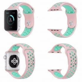Apple Watch Series 38mm Sport Armband Rosa-Grön Silikon klockarmband