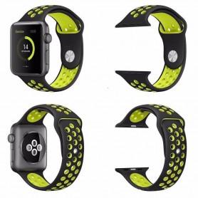 Apple Watch 42mm Sport Armband Silikon Svart-Gul klockarmband