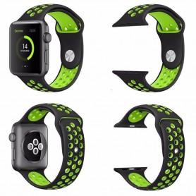 Apple Watch 42mm Sport Armband Silikon Svart-Grön klock armband