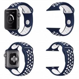 Apple Watch 42mm Sport Armband Silikon Blå-Vit klockarmband