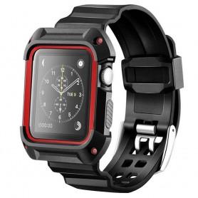 Apple Watch 38mm Armor Case med Armband - Svart/Röd