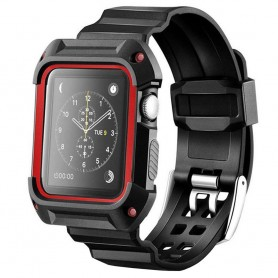 Apple Watch 42mm Armor Case med Armband - Svart/Röd