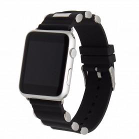 Apple Watch 42mm Buckle Silikon Armband Metall - Svart