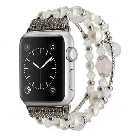 Apple Watch 42mm Crystal Agate Pärlarmband - Vit CaseOnline.se