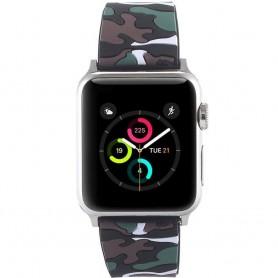 Apple Watch 42mm Camo Silikon Armband - Svart/Vit tufft tillbehör till klockan