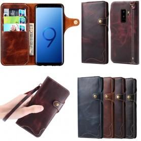 Mobilplånbok 3-kort äkta läder Samsung Galaxy S9 Plus mobilskal fodral skinn