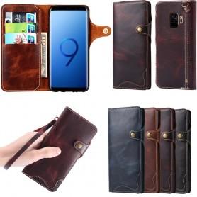 Mobilplånbok 3-kort äkta läder Samsung Galaxy S9 (SM-G960F)