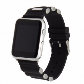 Apple Watch 42mm Buckle Silikon Armband Metall - Svart