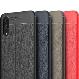 Läder mönstrat TPU skal Huawei P20 mobilskal silikon