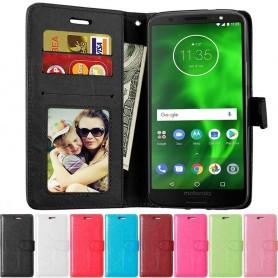 Mobilplånbok 3-kort Motorola Moto G6 Plus mobilskal fodral vaska