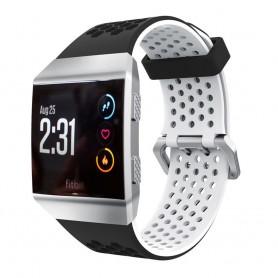 Hole Sport Armband Fitbit Ionic dubbel spänne silikon - Svart-Vit