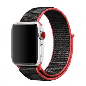 Apple Watch 38mm Nylon Armband Svart/röd caseonline