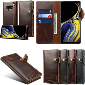 Mobilplånbok 3-kort äkta läder Samsung Galaxy Note 9 mobilskal fodral skinn