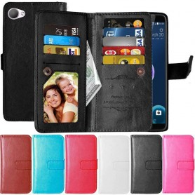Dubbelflip Flexi 9-kort HTC Desire 12-mobilskal-plånbok-fodral