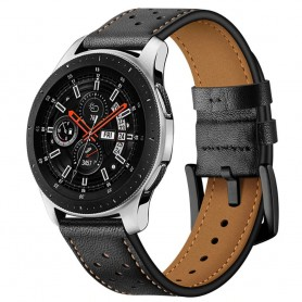 Armband läder Samsung Galaxy Watch 46mm - Svart