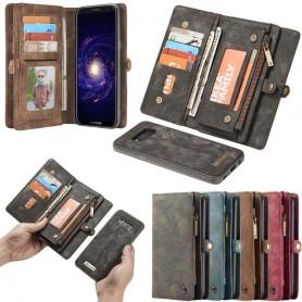 Multiplånbok 11 kort Samsung Galaxy S8 Plus myntfack dragkedja väska fodral