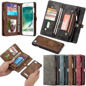 Multiplånbok 11 kort Apple iPhone 7 / 8 mobilplånbok dragkedja myntfack fodral väska