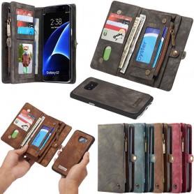 Multiplånbok 11 kort Samsung Galaxy S7 mobilskal väska fodral dragkedja myntfack