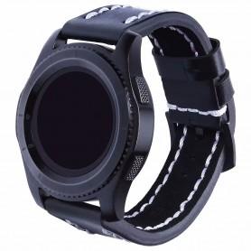 Läder Armband Sature Samsung Gear S3 Frontier/Classic - Svart