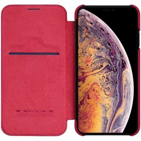 Nillkin Qin FlipCover Apple iPhone XS Max - Röd mobilskal skydd fodral