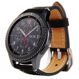 Läder Armband Matt Samsung Gear S3 Frontier/Classic - Svart