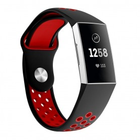 Fitbit Charge 3 EBN Sport Armband Silikon - Svart/röd