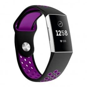 Fitbit Charge 3 EBN Sport Armband Silikon - Svart/lila