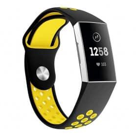 Fitbit Charge 3 EBN Silikon Sport Armband - Svart/gul