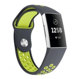 Fitbit Charge 3 EBN Sport Armband - Grå/grön