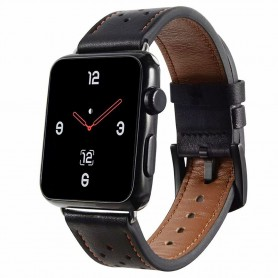 Apple Watch 4 (44mm) Läder Armband Plum - Svart