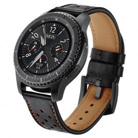 Armband läder Svart/orange Samsung Gear S3 Frontier - S3 Classic