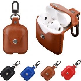 Läder fodral med knapp/karbinhake till AirPods